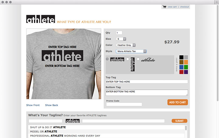 ATHLETE Shirts customize page