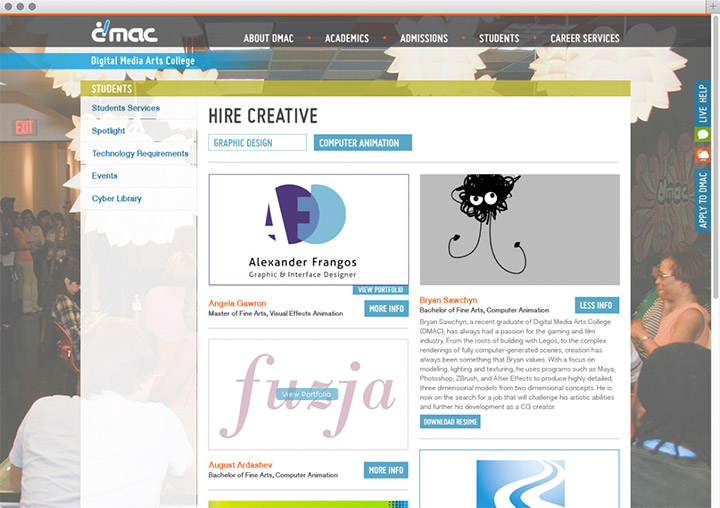 DMAC hire creative page